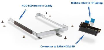 2nd HDD SSD caddy hardware and ribbon cable kit for HP Envy 17 nxxx n100 n000