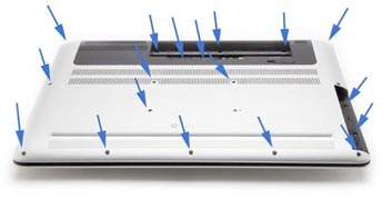 Remove bottom cover of laptop.  See blue arrows for location of screws