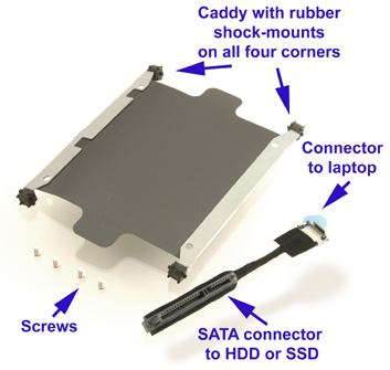 HDD caddy for HP dv7 2000 & 3000 series laptops